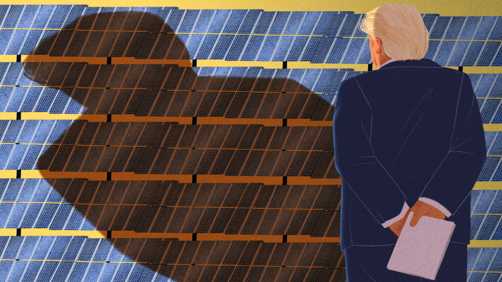 Illustration depicting President Trump looming over a field of solar panels, casting a large orange shadow, while holding papers behind his back.