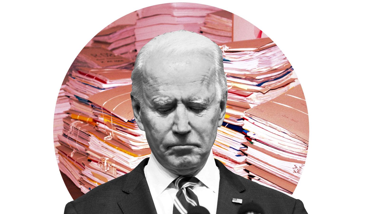 Joe Biden looking regretful in front of a circular image of stacks of files