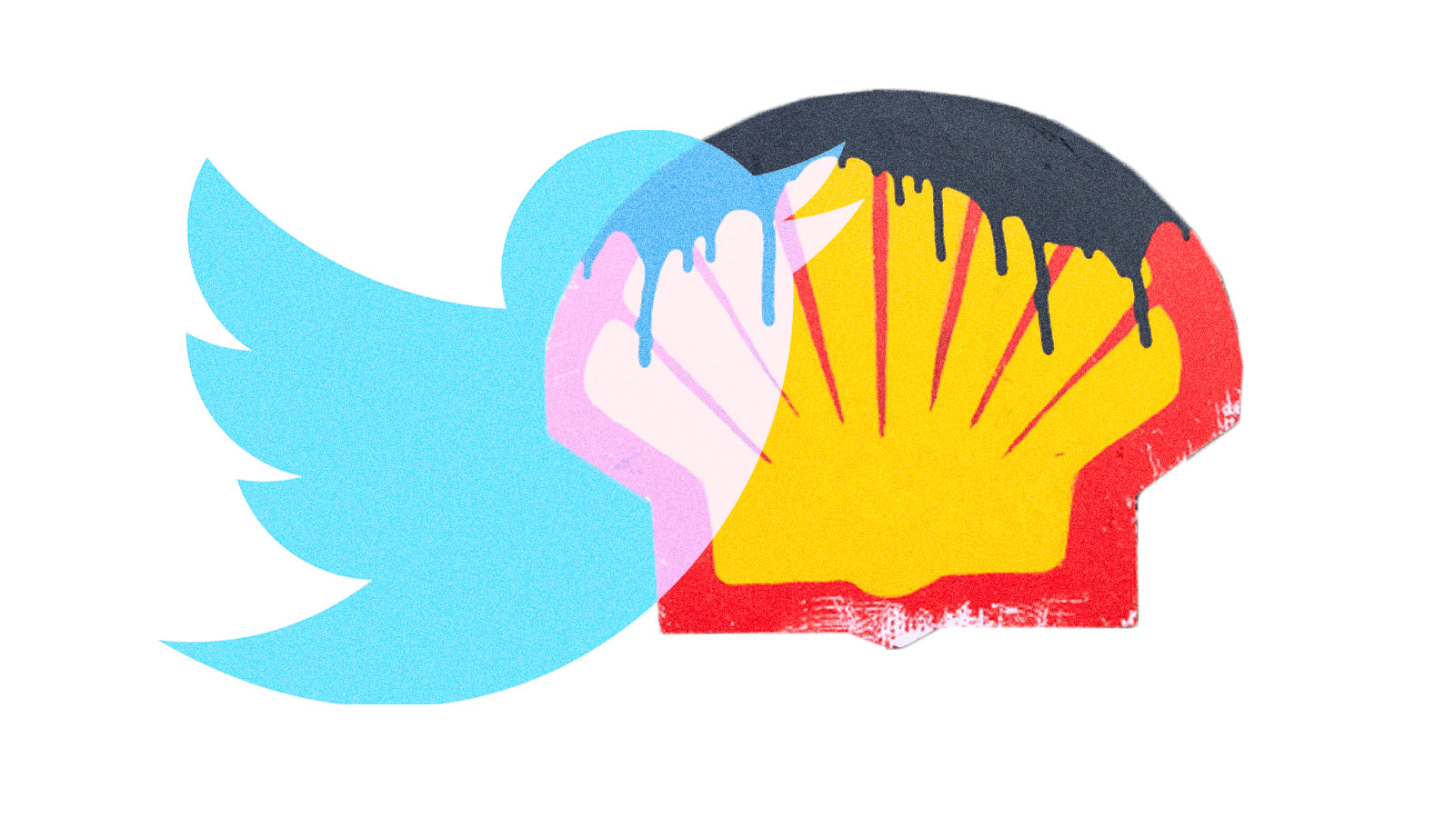 The Twitter logo on top of a Shell logo covered in dripping oil